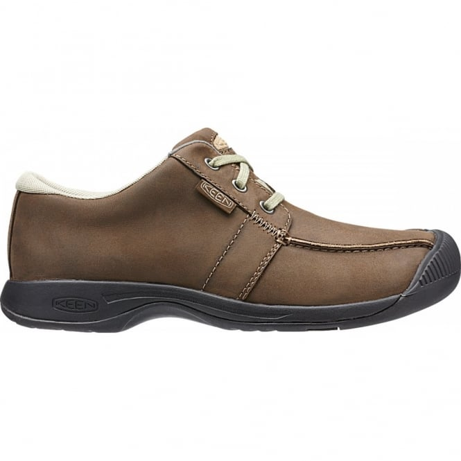 KEEN Mens Reisen Low Cascade Brown, leather shoe with a super comfortable recycled foam footbed