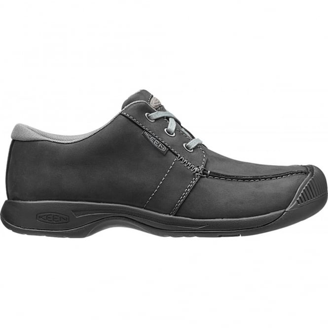 KEEN Mens Reisen Low Black, leather shoe with a super comfortable recycled foam footbed