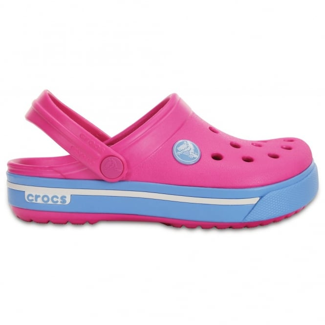 Crocs Kids Crocband II.5 Clog Neon Magenta/Blue Bell, All the comfort of a Classic but with a Retro look