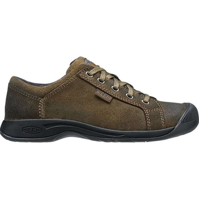 KEEN Womens Reisen Lace Cascade Brown, leather shoe with our super comfortable recycled foam footbed