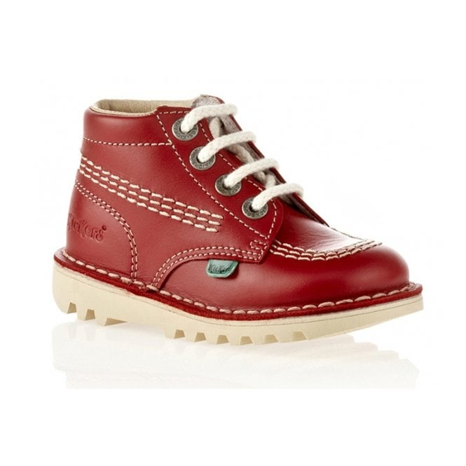 Kickers Kick Hi Infant Leather Red, Lace up boot