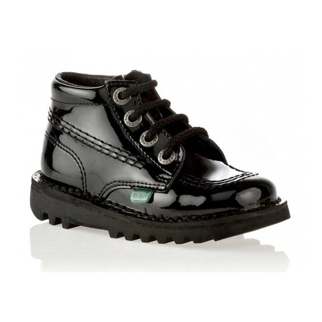 Kickers Kick Hi Infant Pantent Black, Lace up boot