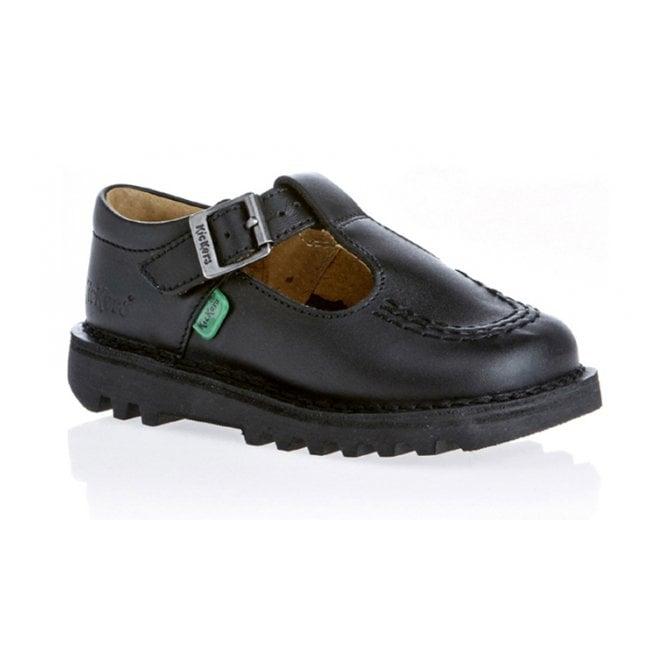 Kickers Kick T Bar Infant Leather Black, Girls leather school shoe