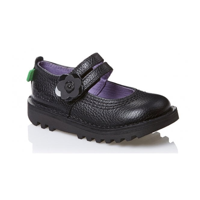 Kickers Kick Duo Infant Leather Black, Girls leather school shoe