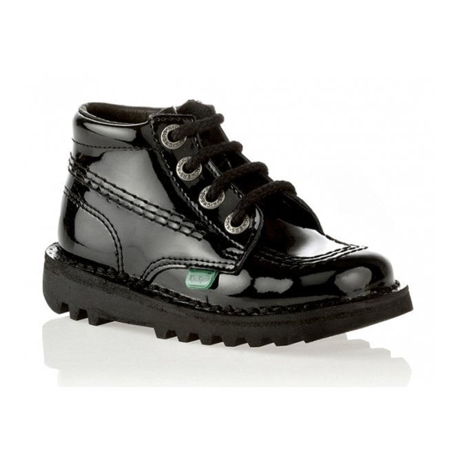 Kickers Kick Hi Junior Leather Patent Black, Lace up boot