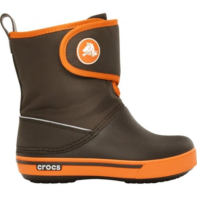 Crocs Kids Crocband II.5 Gust Boot Espresso/Orange, Water resistant nylon upper with velcro adjustable shaft