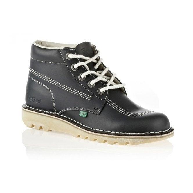 Kickers Kick Hi Mens Navy/Natural, Leather lace up boot