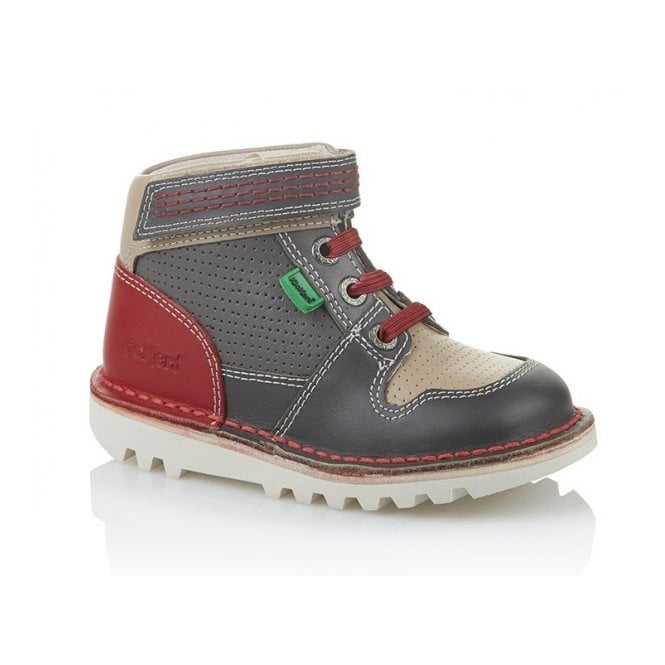 Kickers Sneakerize Hi Infant Dark Red/Grey, Modern sneaker boot
