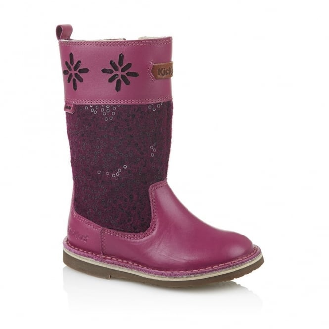 Kickers Adlar Hi Infant Dark Pink, Sweet and smart girls boot