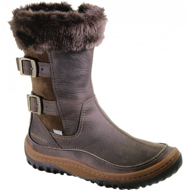 Merrell Decora Chant Mocha, waterproof leather boot with buckle detail