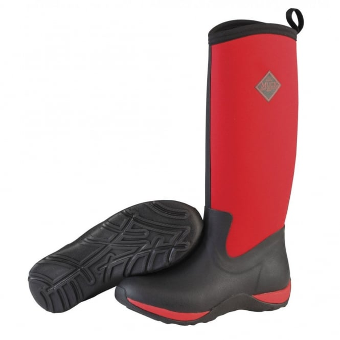 The Muck Boot Company Arctic Adventure Plain Black/Race Red, lightweight, fleece lined neoprene winter welly