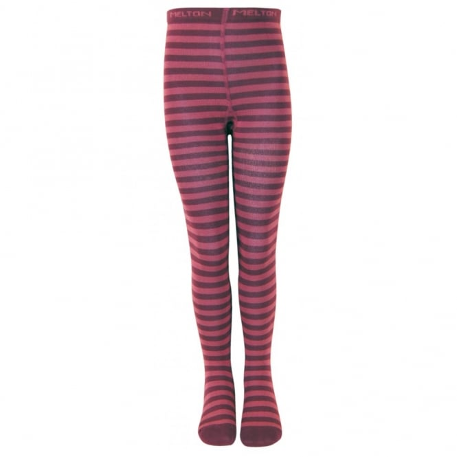 Melton Tights Stripes 783 Dark Burgundy, Soft and durable cotton tights