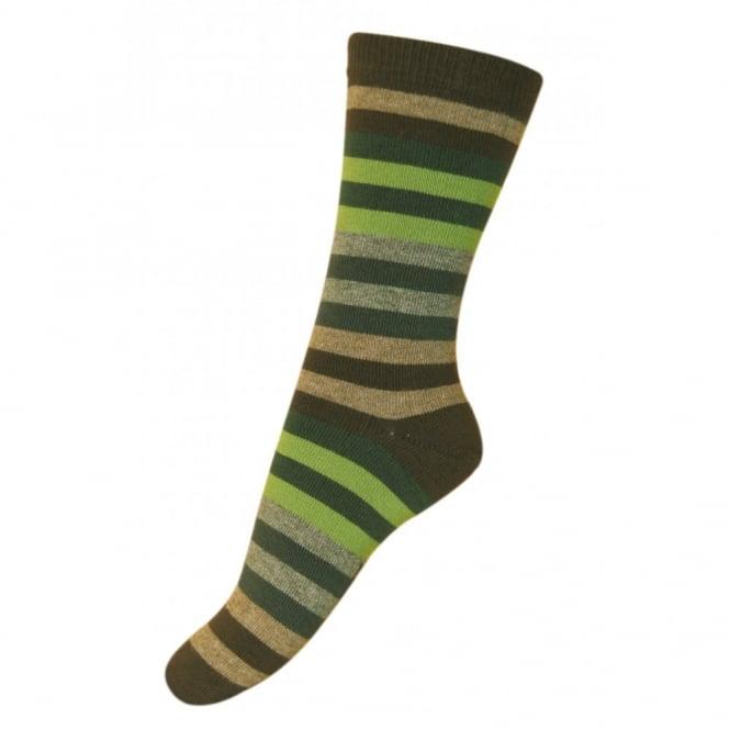 Melton Sock Multi Stripes 482 Chocolate, Cosy cotton socks