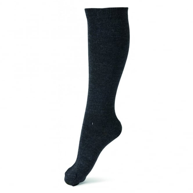 Melton Sock Classic Superwash Wool Knee High 180 Dark Grey Melange, Perfect with boots and school shoes
