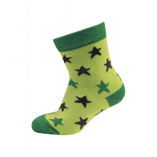 Melton Baby Sock Mini Stars 331 Deep Green, Cute and cosy cotton socks