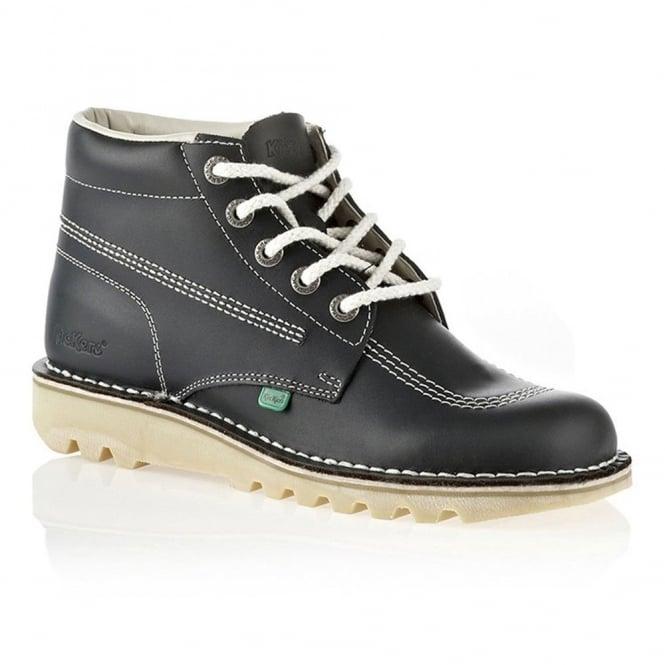 Kickers Kick Hi Womens Navy/Natural, Leather lace up boot