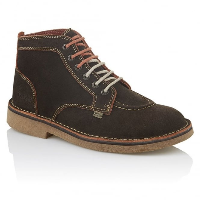 Kickers Kick Legendry Mens Dark Brown/Orange, Suede lace up boot