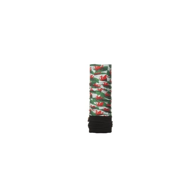 Buff Junior Polar Buff Welsh Flag/Black, 2 Layer cylindrical headgear