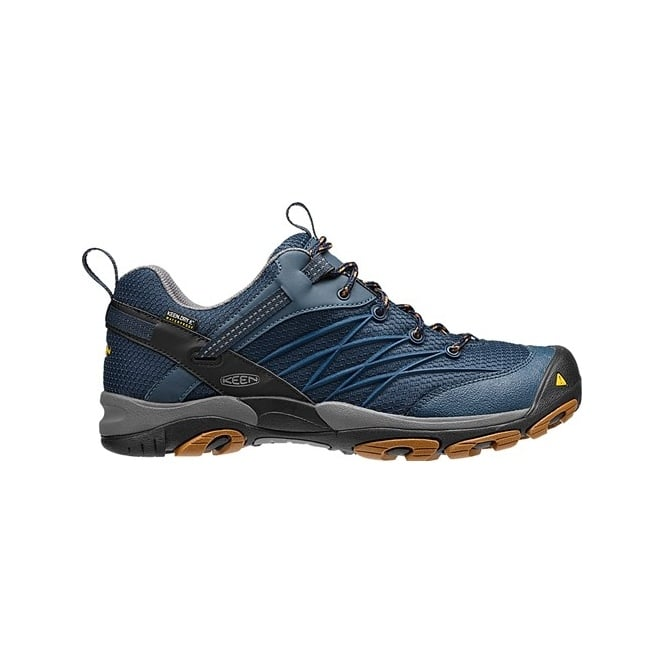 KEEN Mens Marshall WP Midnight Navy/Glazed Ginger, the perfect hiking shoe for your next best adventure in a low cut style.