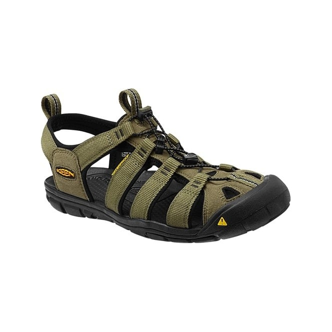 KEEN Mens Clearwater CNX Burnt Olive/Black, a low profile lightened version of the orignal sandal