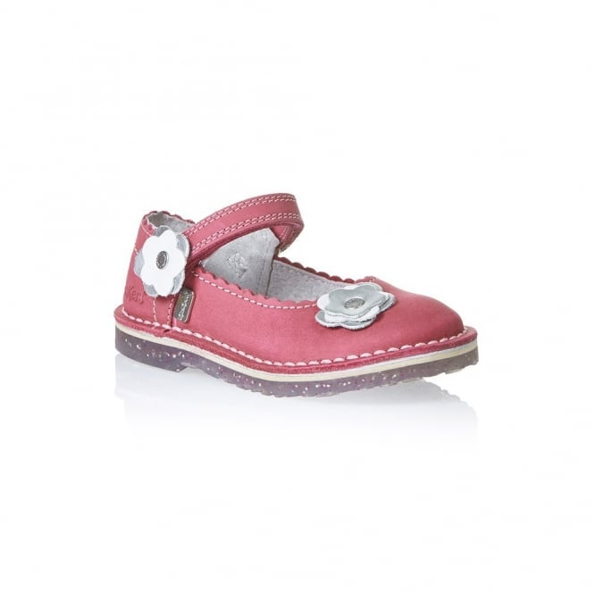 Kickers Adlar Bar Trim 2 Infant Dark Pink, Girls leather shoe