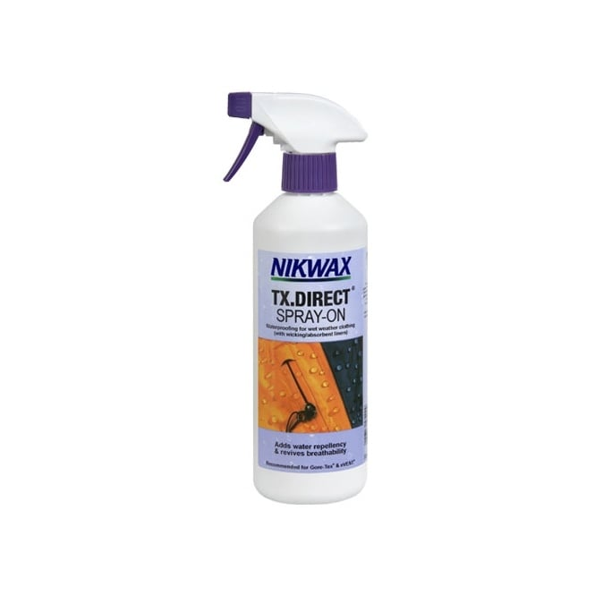 Nikwax TX Direct Spray On 300ml, The easy to use, safe, high performance spray on waterproofing for wet weather clothing.