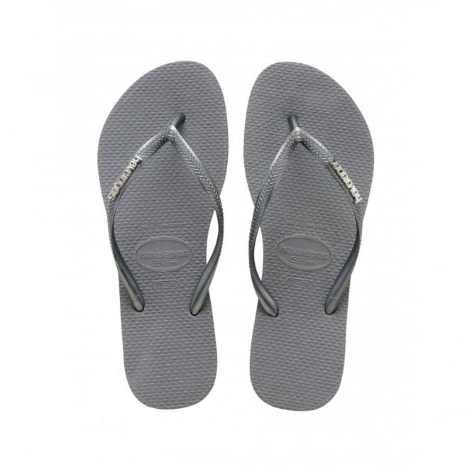 Havaianas Slim Logo Metallic Ice Grey, slim fitting flip flop