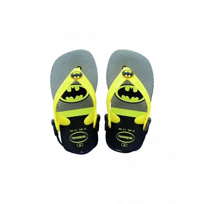 Havaianas Baby Heroes Batman Black, the original flip flop with elastic back strap