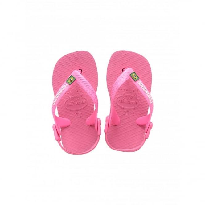Havaianas Baby Brasil Logo Shocking Pink, the original flip flop with elastic back strap