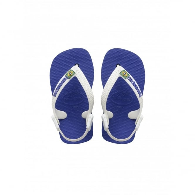 Havaianas Baby Brasil Logo Marine Blue, the original flip flop with elastic back strap