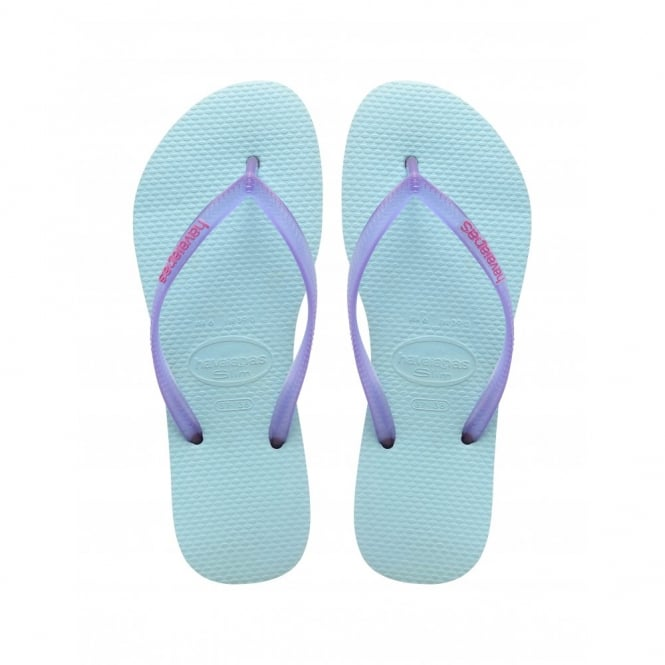 Havaianas Slim Logo Slim Ice Blue, Womens fit