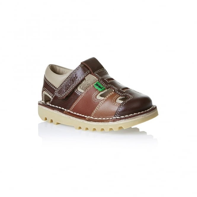 Kickers Kick Sundal Infant Dark Brown/Tan, a sun-sational choice for warmer weather