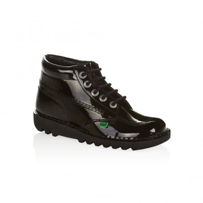 Kickers Kick Hi Womens Black Patent, Leather lace up boot