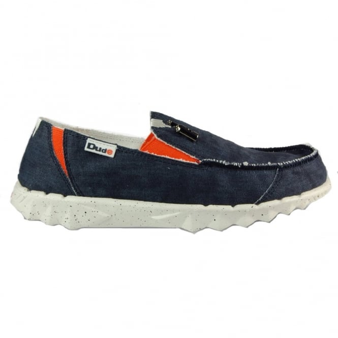 Dude Farty Funk Navy, canvas slip on mule