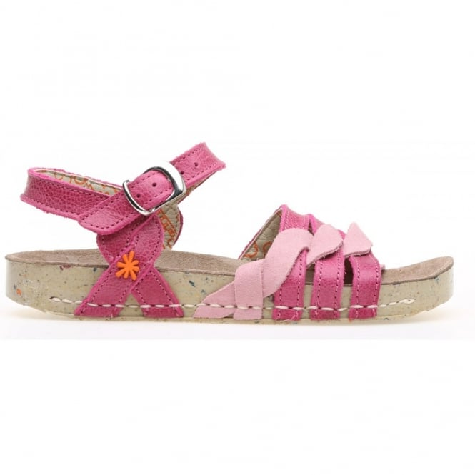 The Art Company kids A430 I Play Gaucho Lux Suede Magenta, girls buckle up sandal