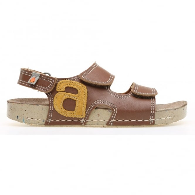 The Art Company Kids A420 I Play Vachetta-Lux Suede Brown/Corn, leather velcro sandal