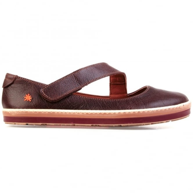 The Art Company I Smile 0818 Gaucho Flat Moka, leather flat with velcro fastening
