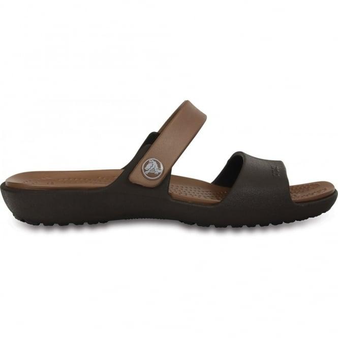Crocs Coretta Sandal Espresso/Bronze, Two strap comfort sandal