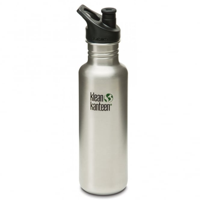 Klean Kanteen Classic 800ml Sports Cap Brushed Stainless Steel, Stainless Steel Water Bottle great for on the move