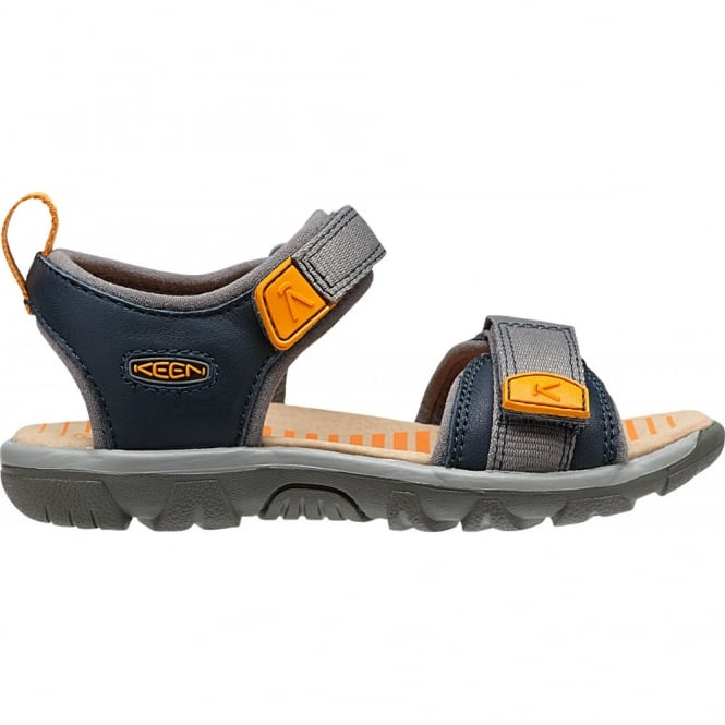 KEEN Infant Riley Midnight Navy/Cheddar, a toddler-specific style with easy pull tabs and secure fit