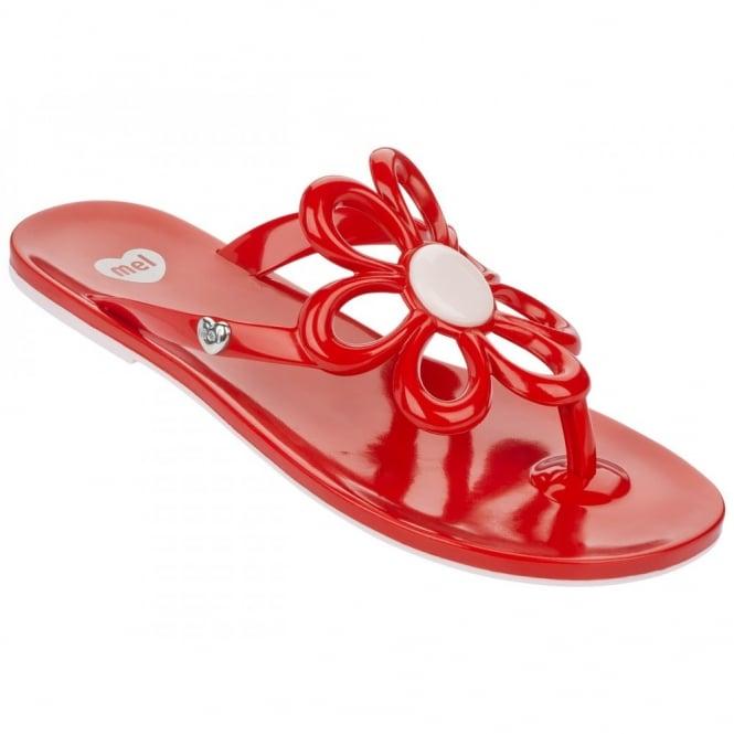 Mel Shoes Mel Flip Flops Flower Red, melflex plastic for ultimate comfort