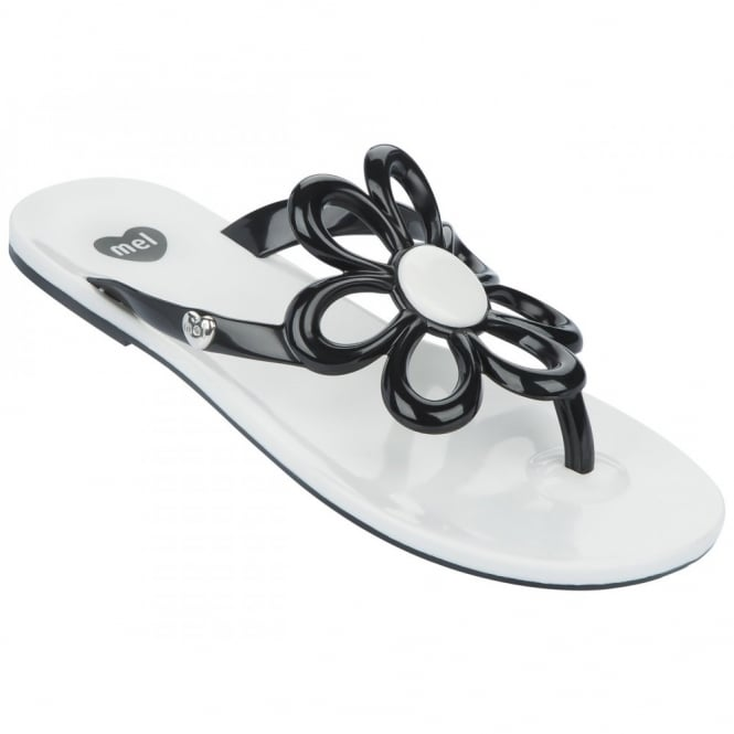 Mel Shoes Mel Flip Flops Flower Black/White, melflex plastic for ultimate comfort