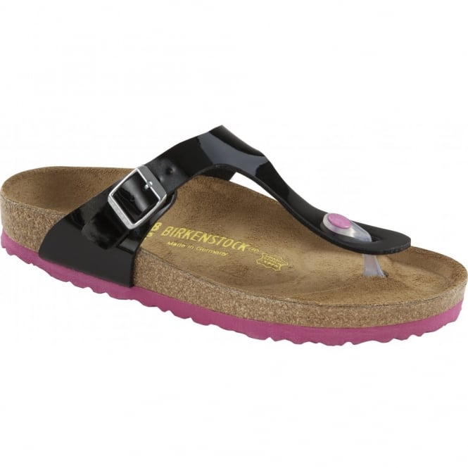 Birkenstock Gizeh Patent Black/Pink 845861, The best selling Birkie toe post