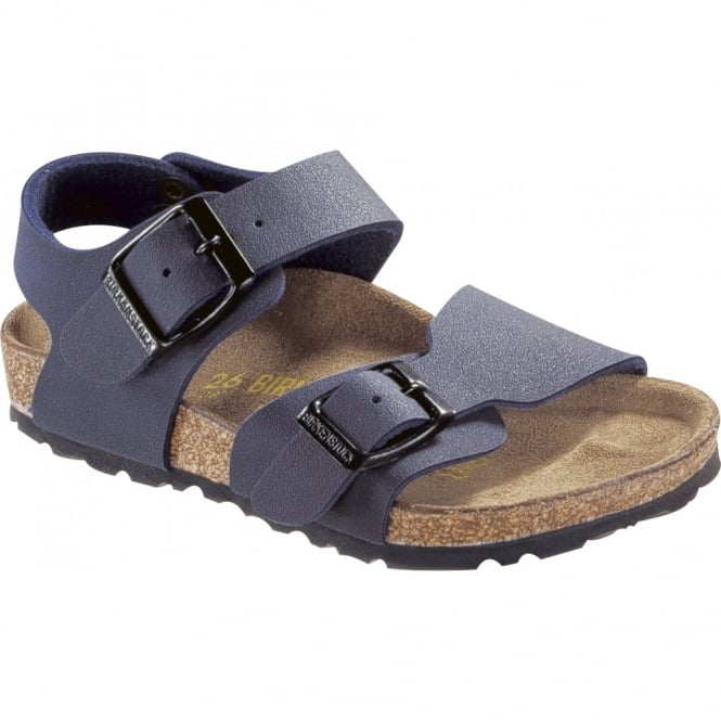 Birkenstock Kids New York Navy 087773, nubuck birko-flor sandal with two adjustable buckle straps