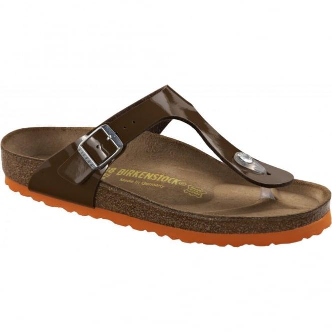 Birkenstock Gizeh Patent Bison Brown/Orange 745231, The best selling Birkie toe post