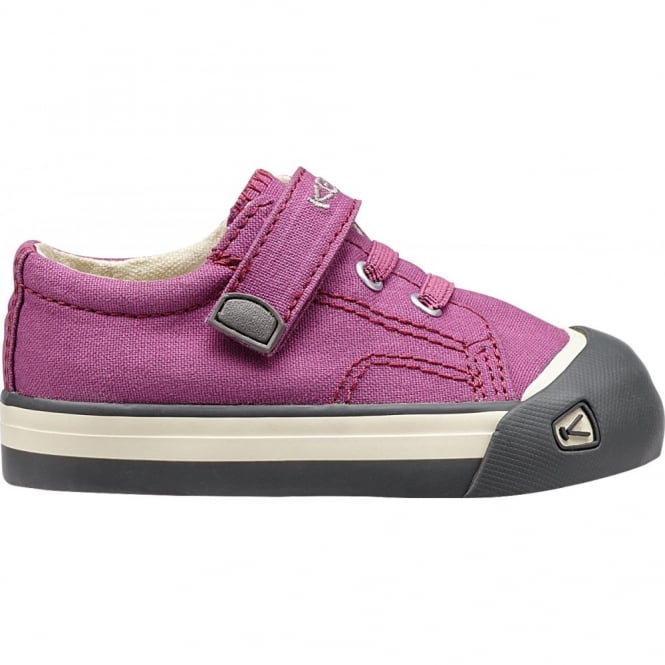 KEEN Kids Coronado Dahlia Mauve/Gargoyle, a classic canvas sneaker updated style lace up with metatomical footbed