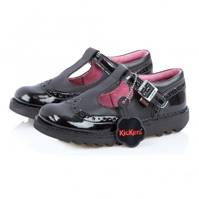 Kickers Kick T Broge Patent Black, leather school shoe