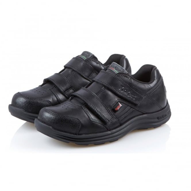 Kickers Seasan Strap Junior Black/Black, leather school shoe