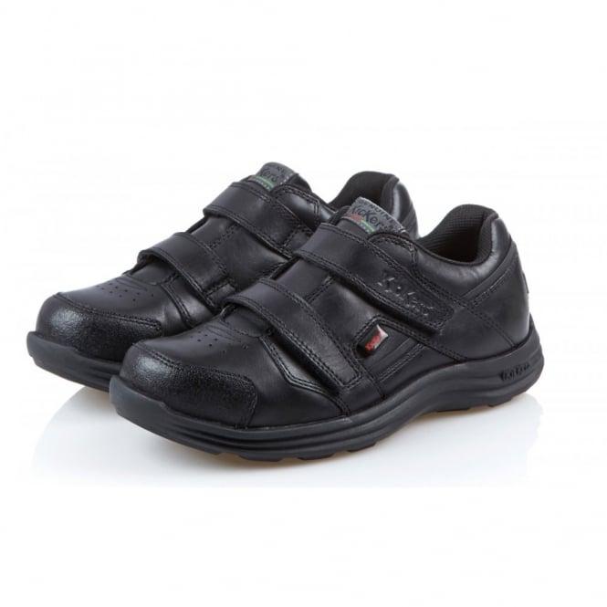 Kickers Seasan Strap Youth Black/Black, leather school shoe