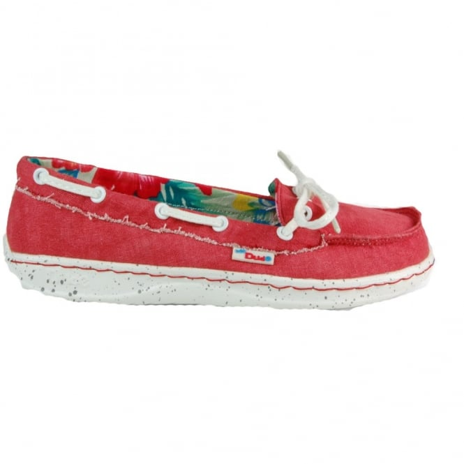 Dude Moka Ladies Deck shoe Tangerine, lightweight comfort slip on shoe